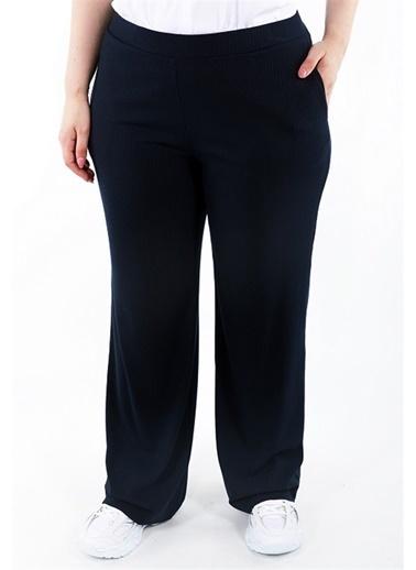 Luokk Gıla Beli Lastikli Rahat Kesim Yanları Cepli Kadın Pantolon Siyah